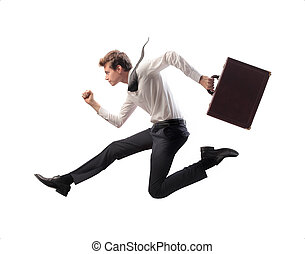 businessman running - businessman runs on white background