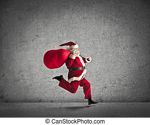 santa claus running on gray background