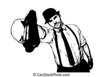 gangster illustration on white background