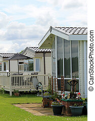 Mobile homes in trailer park - Exterior of mobile caravan...