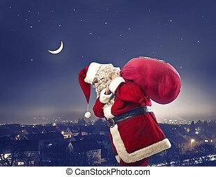 Santa with bag - Tired santa with bag