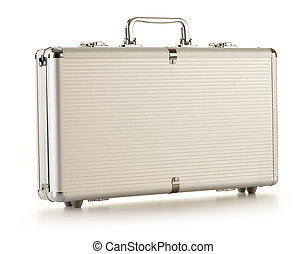 Modern metallic silver briefcase isolated on white