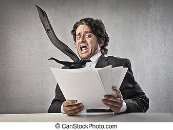 businessman scared - businessman gets scared by reading his...