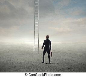 stairway - businessman looking stairway suprised