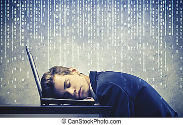 businessman sleeping - young businessman sleeping on the...