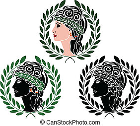 profiles of greek woman. second variant