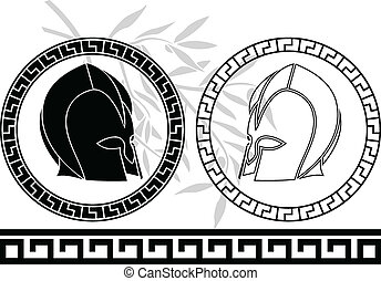 fantasy ancient helmets. stencil. second variant