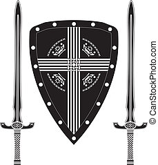 fantasy shield and swords of europe