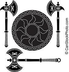 fantasy shield and swords of viking