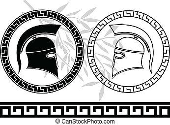 Hellenic, capacetes, azeitona, ramo