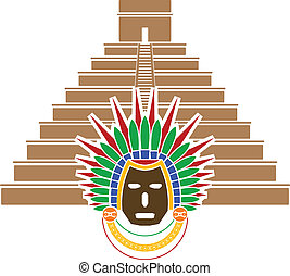 mayan pyramid and mask