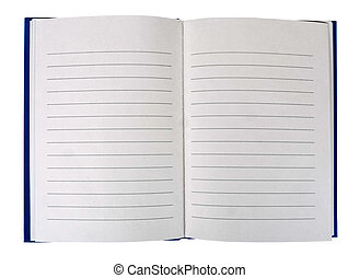 Open book - lined, hardback, blank - Ready for your text