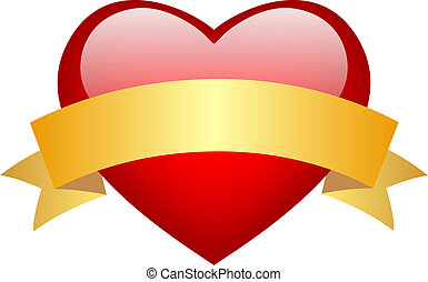 Vector red glass heart