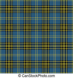 Blue, Black, and Yellow Plaid - Seamless plaid in blue,...