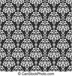 Seamless Deep Grey & White Damask - White hearts and flowers...
