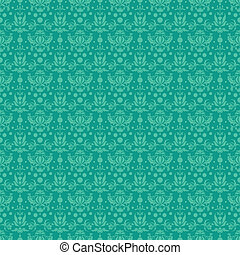 Seamless Teal Damask Pattern - Seamless damask pattern in...