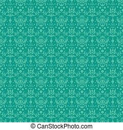 Seamless Teal Damask Pattern - Seamless damask pattern in...