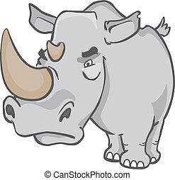 rhinoceros - cartoon portrait of a rhinoceros