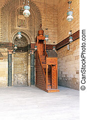 Wooden Minbar - Medieval wooden Minbar in Mosque at Khan el...