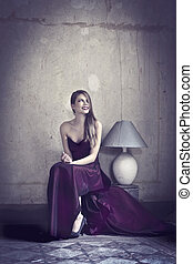 blonde woman - blonde beautiful woman with purple long dress...