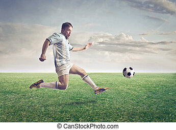 Footballer on field - Footballer man on playing field