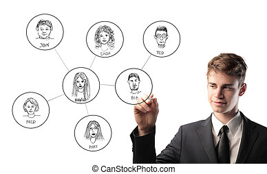 businessman drawing on virtual wall