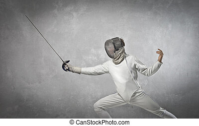 Man fencing - Fencer man in studio