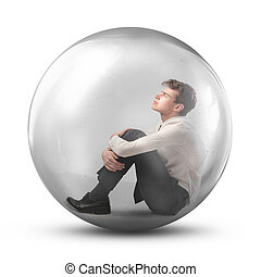 businessman in a sphere - young businessman in a sphere on...