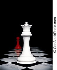 Chess pieces - Queen and pawn
