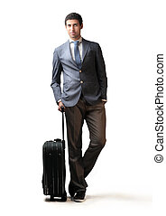 Business trip - Businessman with suitcase
