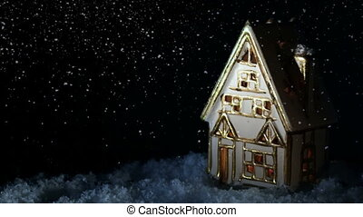 Small house Snow Fireplace - Small house with burning...