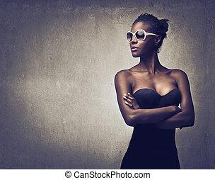 bonito, mulher, pretas