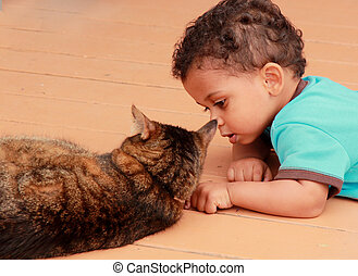 young boy playing with cat - young boy playing with pet cat