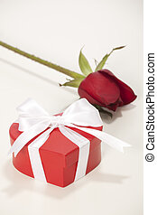 valentine - Heart-shaped Valentines Day gift box with rose...