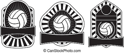 Volleyball Design Templates - Illustration of three...