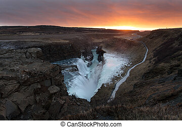 Gullfoss Waterfall Iceland - Icelandic waterfall at sunset...
