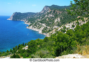 Cliff Ibiza - Cliff and ocean views around a bay on the...