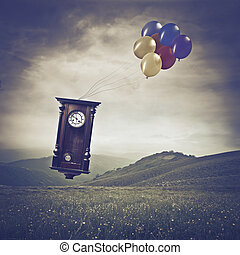 Flying time - Clock flying with balloons