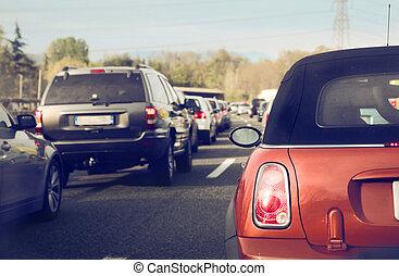 Traffic jam - Cars standing in traffic jam