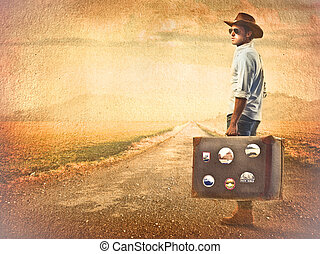 Traveller man - Man with suitcase travelling alone