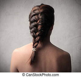 Braided woman - Woman from behind with braid