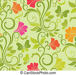 Floral vector seamless background with fresh spring flowers...