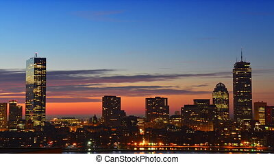 Timelapse of sunrise over Boston - Timelapse of dramatic...