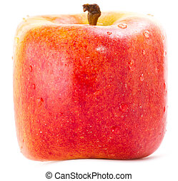 Red Square apple Isolated on White background