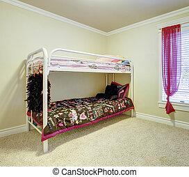 Kids bedroom with double bunk metal bed. - Kids simple...