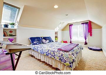 girl, chambre à coucher, grenier, plafond, beige,...