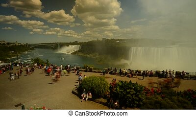 Timelapse of tourist crowd Niagara