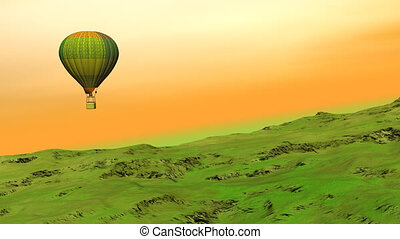 Balloon flying upon the hill - Colorful hot balloon flying...