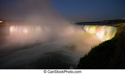 Night illumination of Niagara Falls