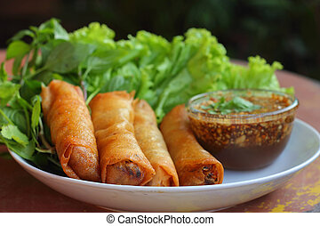 Food fried spring rolls